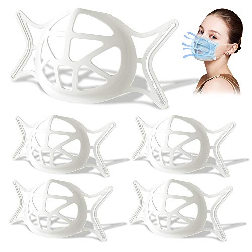 Upgraded 3D Silicone Bracket for Mask,Breathe Cup,Face Mask Cool Bracket with Turtle Shape for More Breathing Room,Face Mask Cool Inserts Keep Fabric off,Lipstick Protector for Face(White,5PCS)