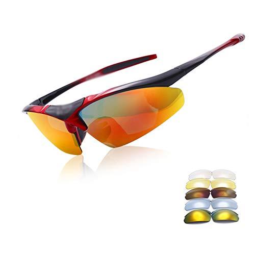 Gafas De Ciclismo, Unisex UV400 Gafas De Sol para Exteriores Gafas Deportivas Polarizadas De Moda con 5 Lentes Intercambiables Utilizado para Conducir, Andar En Bicicleta, Pescar, Escalar Montañas