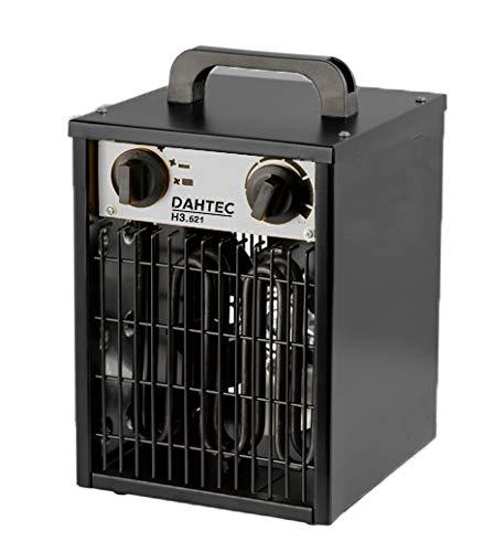 DAHTEC H5.521 Industrieheizer 5-kW, Heizlüfter mit 2 Heizstufen, 1 Ventilator-Stufe, elektrisch, tragbar, 400-V, Elektrogebläse Bauheizer für Baustelle, Neubau, Industrie, Hallen und Gewerbe