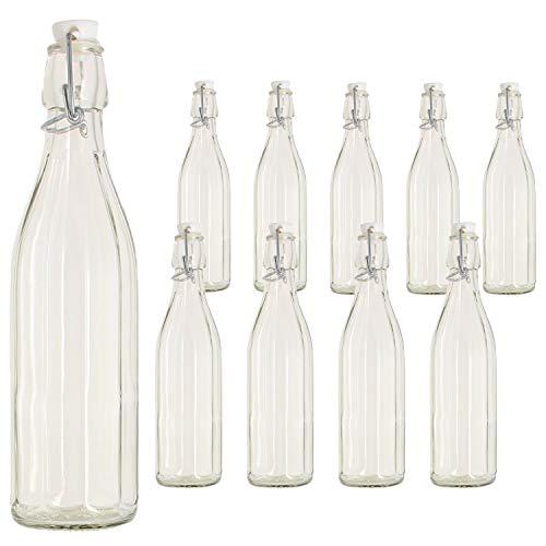 BuyStar Set 10 Bottiglie di Vetro da 1 Lt per Acqua Olio Bevande con Tappo ermetico Alimentare
