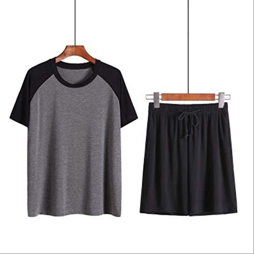 XFLOWR Pyjama Sets Modal Nachtwäsche Herren Pyjama Pyjama Man Home Anzug Lounge Wear Cosy Sportswear Sommer Kurzarm Plus Size XXL schwarz