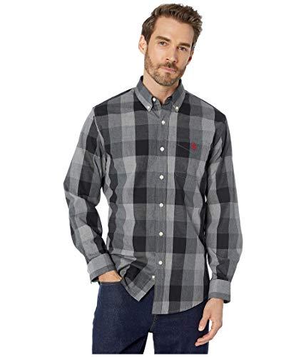 U.S. POLO ASSN. Herren Long Sleeve Woven Shirt Button Down Hemd, Campus Plaid groß Grau meliert, Mittel