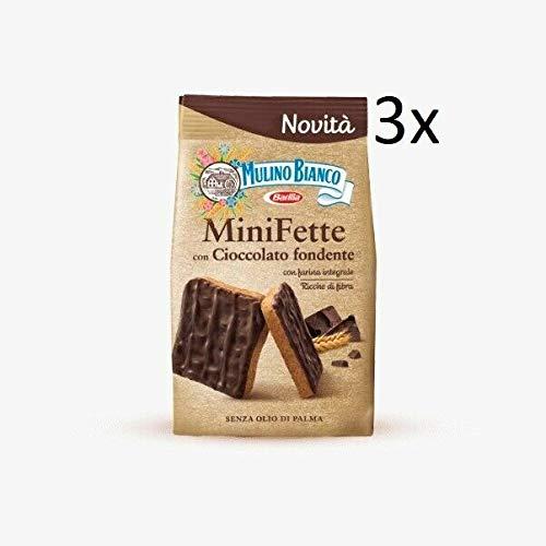 3x Mulino Bianco Mini Fette con Cioccolato fondente e farina integrale Zwieback mit dunkler schokolade und vollkornmehl Kekse gebackenem brot biscuits 110g ohne Palmöl