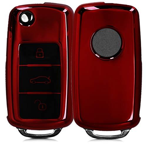 kwmobile Autoschlüssel Hülle für VW Skoda Seat - TPU Schutzhülle Schlüsselhülle Cover für VW Skoda Seat 3-Tasten Autoschlüssel Hochglanz Rot