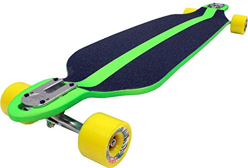Green Double Drop Longboard Hybrid Thru Down Shape Paris Trucks Upgrade 76Mm Whl