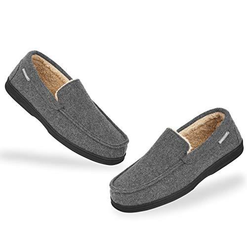 Dunlop Zapatillas Casa Hombre | Pantuflas Estilo Mocasines Cerradas | Zapatillas de Casa Invierno Calientes Suela de Goma Dura | Regalos Originales para Hombre (43, Gris Oscuro, numeric_43)