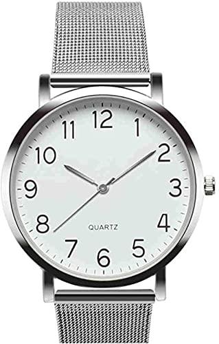 JZDH Mano Reloj Reloj de Pulsera Relojes Militares Militares Unisex Simple Business Moda Strip de Acero Reloj de Pulsera de Cuarzo Mujeres, Plata Relojes Decorativos Casuales