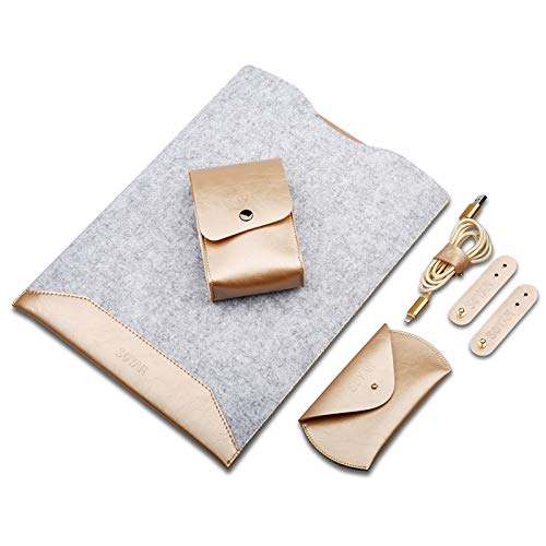 Skin Case Cover 4 in 1 Laptop Crazy Horse Texture Fur Felt Inner Bag + Power Bag + Mouse Storage Bag + 3 Earphone Cable Winders for Macbook Air Retina 13.3 inch (2018) ( Color : Champagne Gold )
