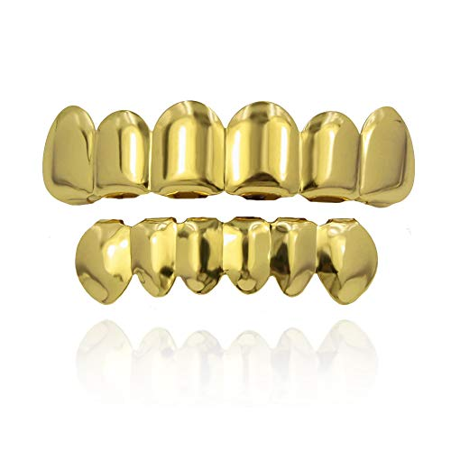 TOPGRILLZ 18K Gold Plated Hip Hop Custom Fit Teeth Grillz Set Caps with 4 Silicon Molding Bars (Gold 6 Fangs)