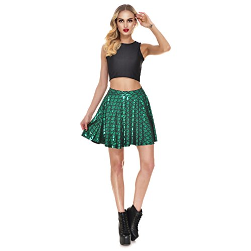 AISKLY Fish Scales Skirts Women Casual Cute Above Knee Mini Flared Skater skirt, YL-2001, Medium