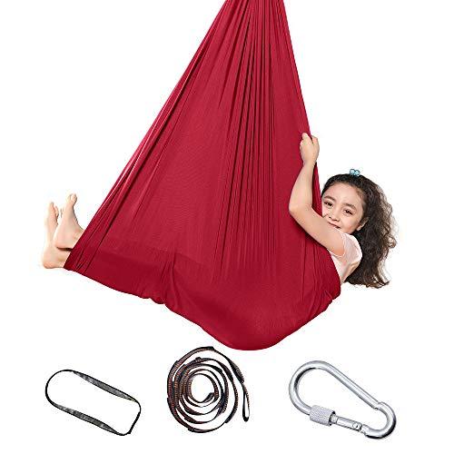 Topchances Indoor-Therapie-Schaukel für Kinder und Jugendliche, weiche Hängematten-Schaukel mit besonderen Bedürfnissen für Kinder, für Yoga, sensorische Integration, Outdoor, Camping (Rot, 1.5m)