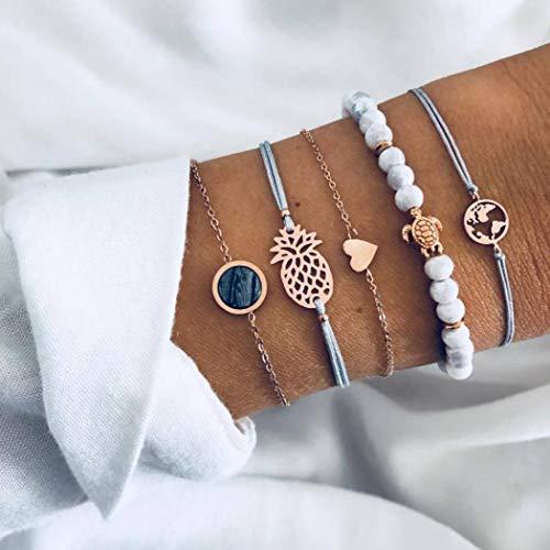 Yean Boho Layered Bracelet Turtle Bead Bracelets Gold Crystal Bracelet Adjustable Handmade Hand Accessories for Girls Women Pack of 5