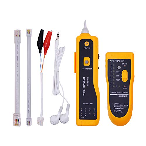 Ethernet Tester,Wire Tester,Wire Tracker,Ethernet Network Cable Tester Kit RJ11 RJ45 CAT5/5e CAT6 LAN Wire Tracker Portable Line Finder for Miss Wiring Disorder Cable Open and Short Circuit Testing