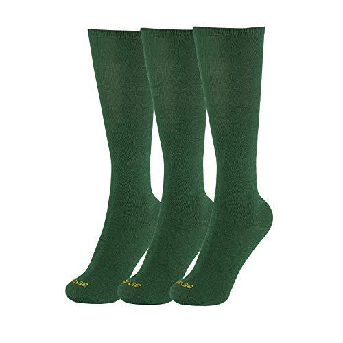 Minime Calcetines Largos Escolares Lisos Niño Colegio Pack de 3 (Verde, 26-28)