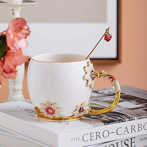 YIUN flor taza de té, Taza de café, esmalte Artesanía taza de cerámica, taza, taza del esmalte con la cuchara, taza del recorrido con la manija Hermosa flor, crisantemo, 320ml