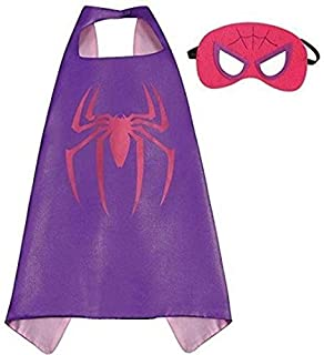 Double sided Kids or adults mini Spider-Woman spiderman spidergirl comic superhero costume with mask and cape