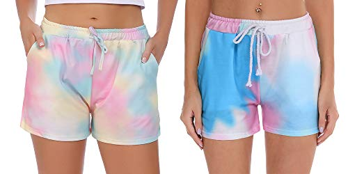 Hawiton 2 Piezas Pantalones Cortos de Pijama para Mujer de Estampado,Tie-Dye Cintura elástica y Bolsillos Pantalon Deportivos, Salón Shorts Verano