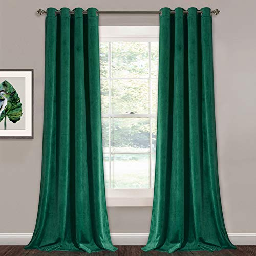 Green Velvet Curtains 96 inches - Super Soft Luxury Blackout Velvet Drapes Elegant Home Decor Window Covering for Living Room/Dining Room, W52 x L96 inches, 2 Panels