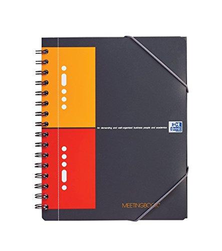 OXFORD 100102104 Meetingbook International A5 kariert 10-fach gelocht 2 in 1 Collegeblock und Gummizugmappe grau