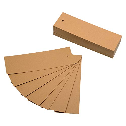 Blank Bookmark with Hole Penta Angel 100PCS Kraft Paper Cardstock Bookmarks for Ribbon Or Tassel Or String Double-Side Note Message Greeting Card DIY Gift Tags Label Number Cards for Painting Drawing