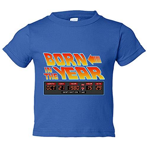 Camiseta niño Born In The Year personalizable con año de nacimiento parodia friki de Regreso al futuro - Azul Royal, 3-4 años