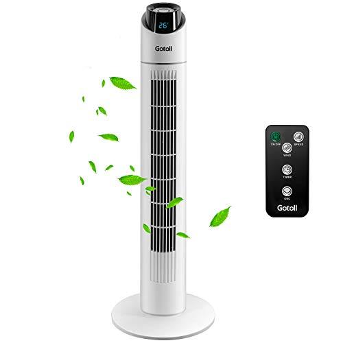 Gotoll Turmventilator mit Fernbedienung, Oszillierender Säulenventilator mit Timer, Standventilator, Ventilator mit 3 Geschwindigkeitsstufen, Schwarz (Weiß-85CM)