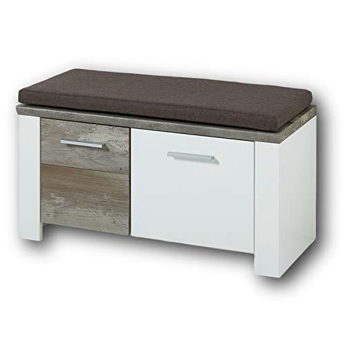 MATEO Schuhbank mit Sitzfläche in Weiß mit Driftwood Optik - bequeme Sitzbank mit Stauraum für Ihren Flur - 90 x 50 x 39 cm (B/H/T)