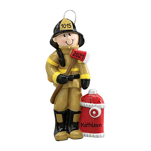 Personalized Fireman Christmas Tree Ornament 2020 - Firefighter Male Brown Uniform Axe Red Hydrant Incident Emergency Rescue Driver Coworker New Job Agent Academy Profession - Free Customization
