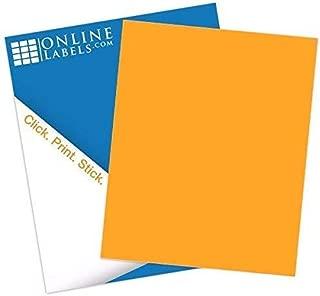 Fluorescent Orange Sticker Paper, 8.5 x 11 Full Sheet Label, 100 Sheets, Inkjet or Laser Printer, Online Labels