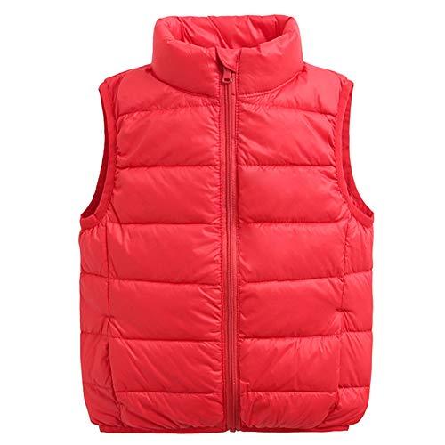 Chaleco de Pluma Sin Mangas Niños Niñas Chaquetas Acolchado Ligero Sin Mangas Abrigo Rojo 125-135
