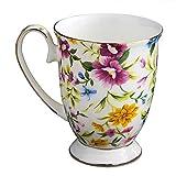 WOTEG Taza de Porcelana Decorado, Diseño Floral de Acuarela, Taza de Té café Royal Bone China, Gran Capacidad 300 ml