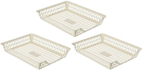 YBM HOME Plastic Paper Organizer Basket Tray for Office Desk, Perforated Storage Basket Great for Desktop, Classroom, and Studio-Pack of 3, Ivory