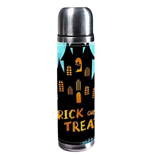 TIZORAX Halloween-Nacht-Hintergrundbild, 500 ml, Reisetasse, Kaffeetasse, Wasserflasche, Vakuum-Leder, Isolierbecher, 304 Edelstahl