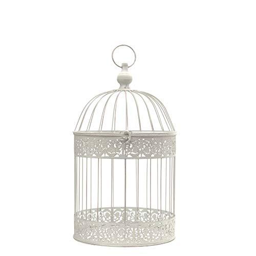 chemin_de_campagne Cage Oiseaux Décorative Fer Ronde Blanc 47 cm x ø24 cm
