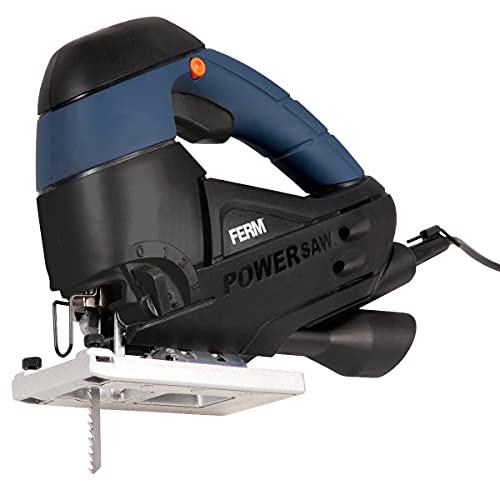 FERM Scie sauteuse 710W - 3-1 movement pendulaire - Raccord d'aspirateur - Adaptée pour bois, acier, aluminium, plastique - 3 lames incluses