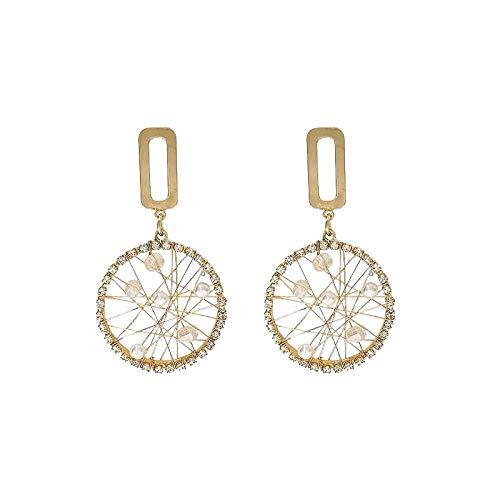 Women's long earrings Diamond Circle Wrapped Geometric Earrings 925 sterling silver earrings beautiful package Can be used as a gift