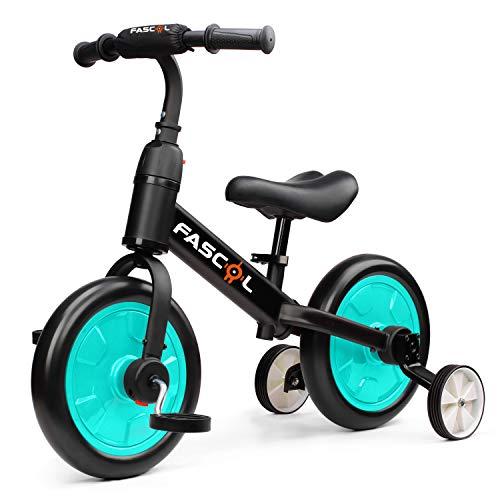 Fascol 3 in 1 Triciclo per Bambini Bicicletta Senza Pedali Triciclo Adatto per età 2-6 Anni (Verde)