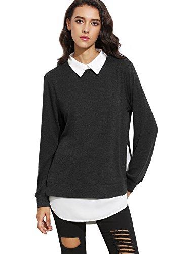 Romwe Women's Classic Collar Long Sleeve Curved Hem Pullover Sweatshirt Black L