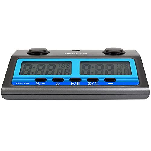 LHYCM Reloj De Ajedrez Digital, Reloj De Cuenta Regresiva para Juegos De Mesa Profesional Y Temporizador Portátil con Funciones De Tiempo De Bonificación Y Torneo