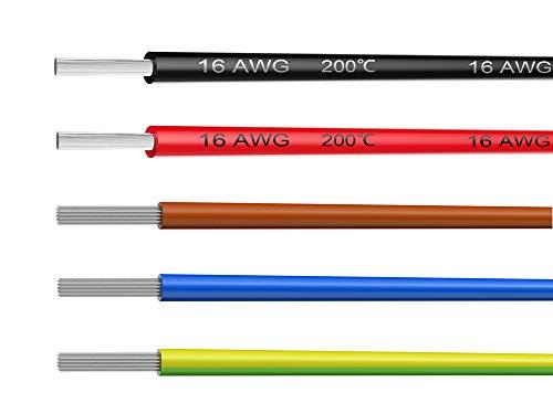 NorthPada 16 AWG 1,0mm² Alambres eléctricos Kit de Cable Eléctrico Cables de silicona Cable de cobre estañado 5 Colores 600V 12A 5 x 3 Metros