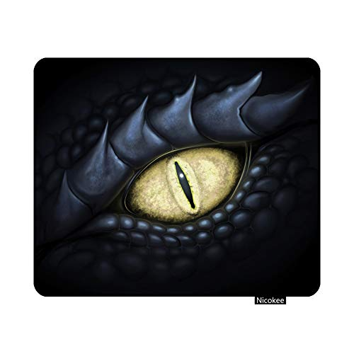 Nicokee Cool Black Dragon Eye Gaming Mouse Pad Dragons Non-Slip Rubber Mouse Pad for Computers, Laptop, Office, Home Rectangle Personalized Mousepad 9.5 Inch x 7.9 Inch