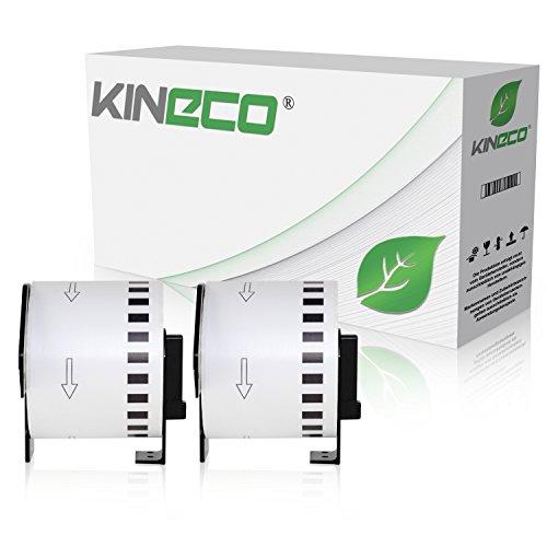 Kineco 2X Endlos-Etikett kompatibel für Brother DK22205 62mm x 30,48m P-Touch QL-1050 1060N 500 550 560 570 580 700 500 A BS BW 560 VP YX 580N 650TD 710W 720NW