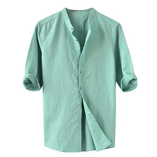 メンズ トップス 大きいサイズ Monikall(モニカル) シャツ メンズ 半袖 リネン ポロシャツ 無地 ボタン tシャツ カジュアル 柔らかい プルオーバー 薄手 通気性 春夏 オシャレ 人気 トップス 大きいサイズ シンプルスタイル ビジネス ティーシャツ 通勤 おしゃれ トレーナー(グリーン,L)