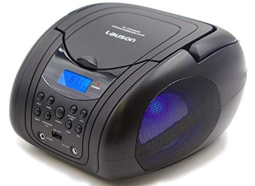 Lauson Woodsound BB21 Small Cd Player with Speakers | Portable Cd Boombox with Aux Input | USB - Mp3 | Headphone Jack | LED Light | Kids Cd Player Portable Radio | Black