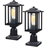 Outdoor Post Light Fixture 2 Pack,JAZAVA Exterior Post Lantern LED Street Light for Patio with 3-Inch Pier Mount Base, Black Finish with Ribbed Glass,Set of Two