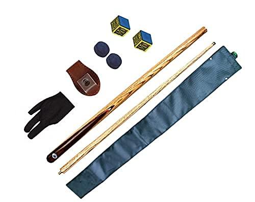Laxmi Ganesh Billiard Combo of Ash Wood Snooker and Pool Bridge Cue; 2-Chalks; 2-Tips; 1-Chalk Holder; 1-Half Cover; 1-Glove