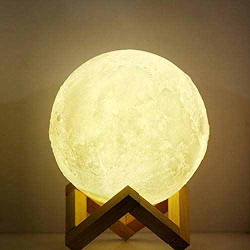 Lámpara de luna, lámpara de luna 3D y luz de noche, luz regulable de brillo de control táctil para decoración del hogar y regalos para amantes, padres, amigos, 3 ajustes de color y control táctil