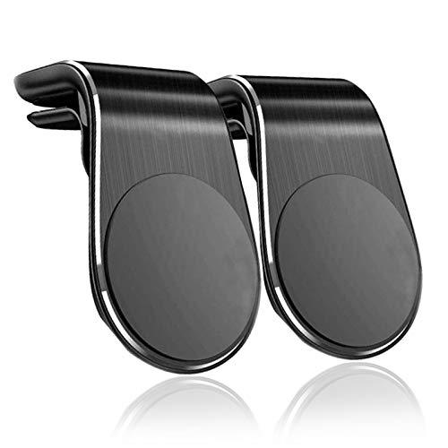 Soporte Movil Coche Magnético Rejillas del Aire Soporte Teléfono Coche Universal, para iPhone Xs/Xs Max/XR/X /8 Plus /7 Plus, Galaxy S10 / S10+ / S9 / S9+ Huawei P30 Pro P9 P10 and More (Negro*2)