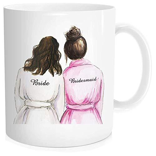 Waldeal Bridesmaid Bestie Coffee Mug, Bridal Shower Mug for Bride Wedding, Best Friend Sister, White...