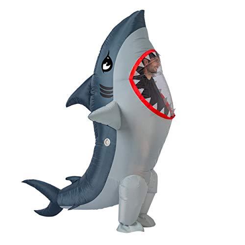 Spooktacular Creations Disfraz inflable de tiburón de cuerpo entero, disfraz de Halloween, tamaño adulto